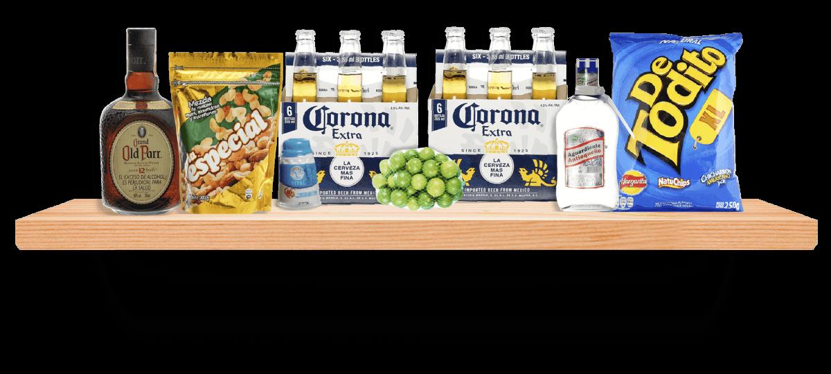Repisa de licores y snacks - Selección Colombia
